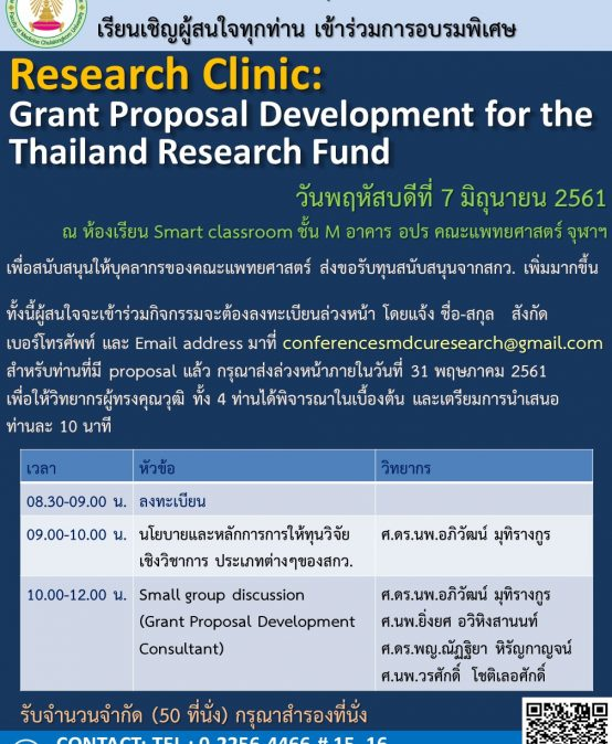 Research Clinic: Grant Proposal Development for the Thailand Research Fund